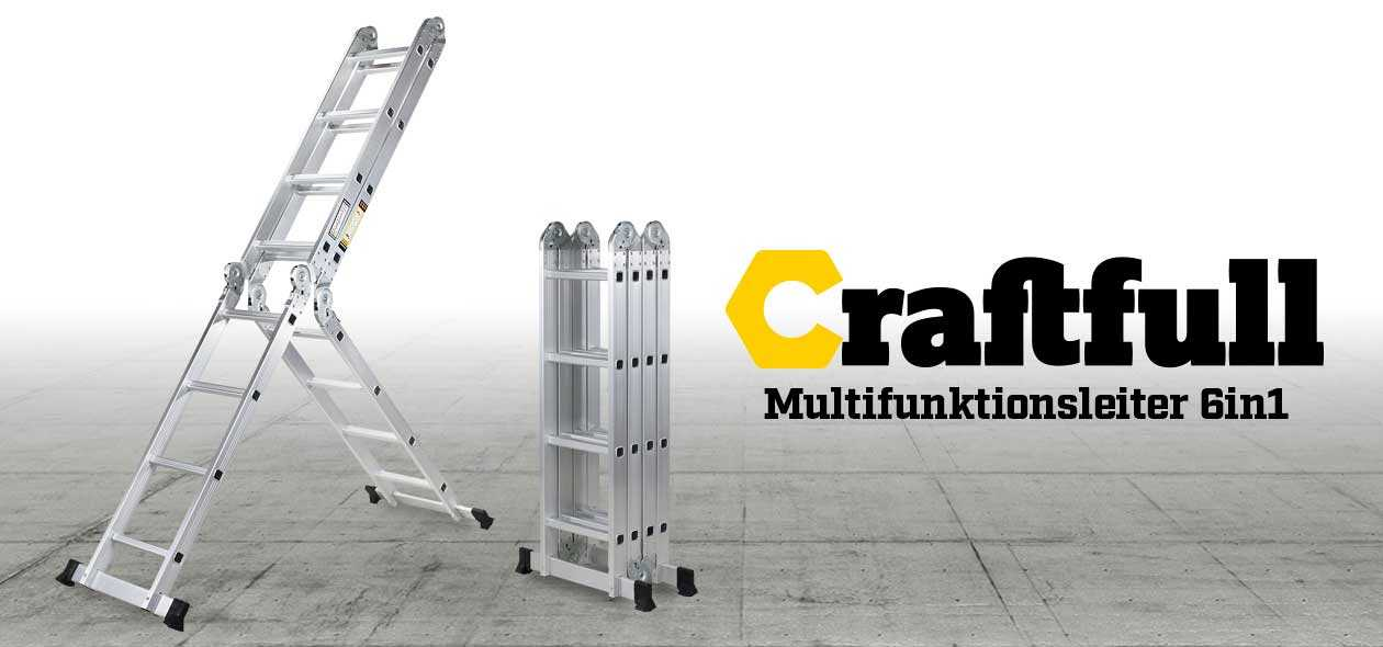 Craftworx Aluminium Multifunktionsleiter 6 in 1